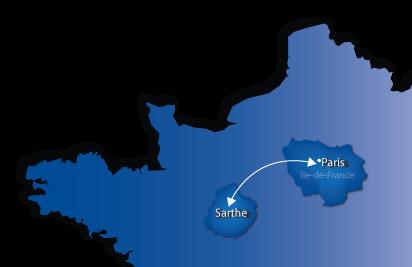 Carte de France : transports entre la Sarthe et la Région Parisienne
